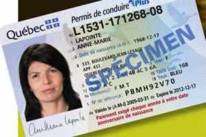 Carte de permis québécois./